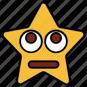 cartoon, character, emoji, emotion, smiley, star, up eyes