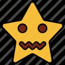 cartoon, character, emoji, emotion, nervous, sad, star