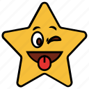 cartoon, cheeky, emoji, emotion, smiley, star, tongue
