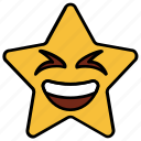 cartoon, character, emoji, emotion, laugh, smiley, star