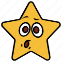 cartoon, character, emoji, emotion, shock, star, surprise
