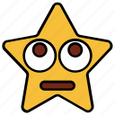 cartoon, character, emoji, emotion, smiley, star, up eyes