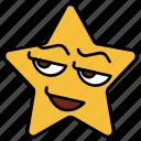 cartoon, emoji, emotion, happy, smiley, star, wink