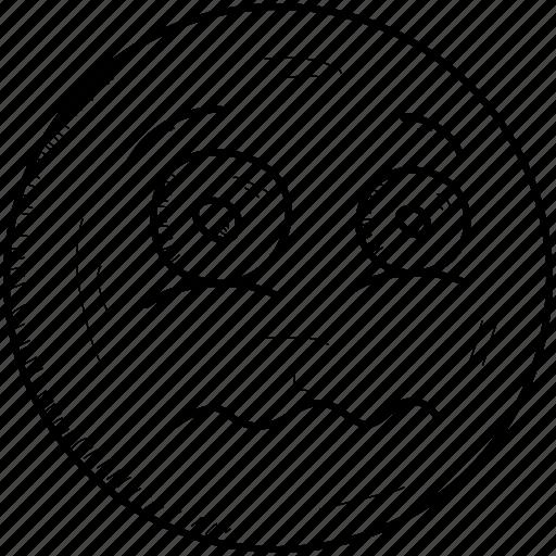 emoji, emoticon, exhausted, face, sad, tired, unhappy icon