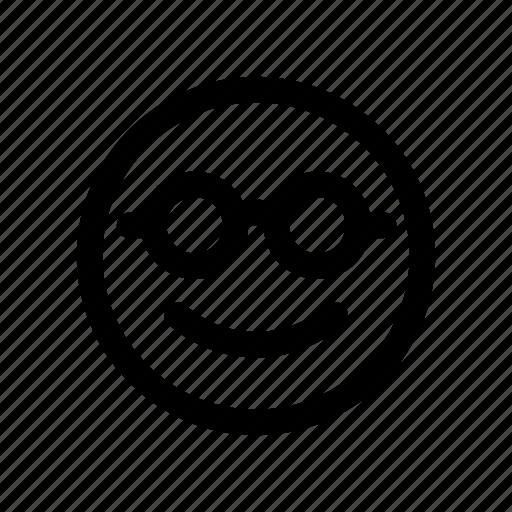 brilliant, clever, emoji, face, genius, glasses, smart icon