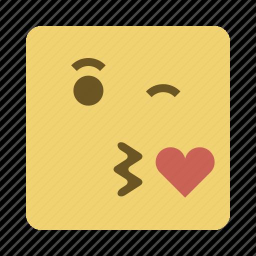 emojis, face, kiss, love icon
