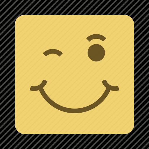 emojis, face, smile, wink icon