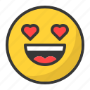 emoji, emoticon, happy, in love, love, smile icon