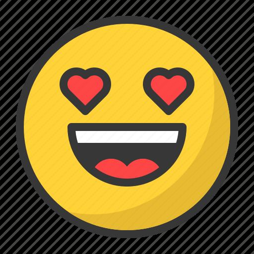 emoji, emoticon, happy, in love, love, smile icon