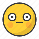 awkward, emoji, emoticon, shy, surprised icon