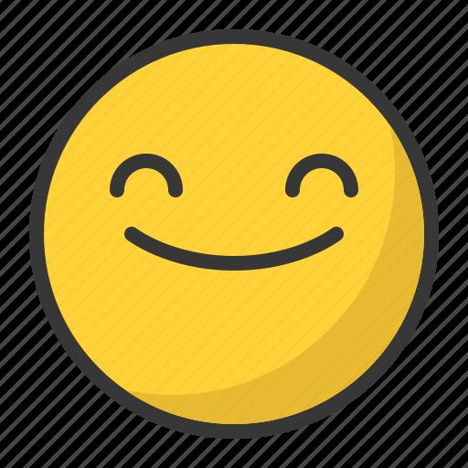 emoji, emoticon, happy, satisfied, smile icon
