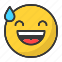 awkward, drop, emoji, emoticon, happy, laugh, smile icon