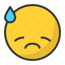 depressed, disappointed, drop, emoji, emoticon, sad icon