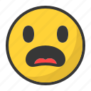 disappointed, emoji, emoticon, scared, surprised icon