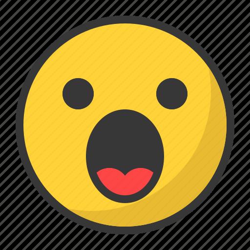emoji, emoticon, scared, surprised icon