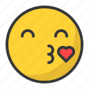 emoji, emoticon, heart, in love, kiss icon