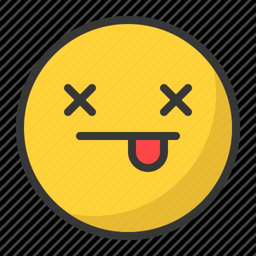 dead, emoji, emoticon, tongue icon