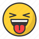emoji, emoticon, happy, laugh, smila, tongue icon