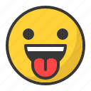 emoji, emoticon, happy, smile, tongue icon