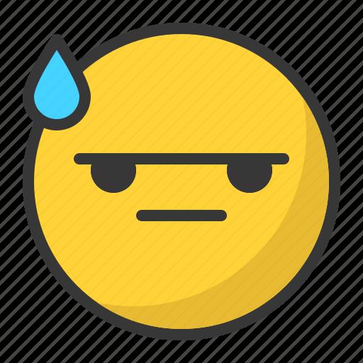 angry, bored, drop, emoji, emoticon, mad icon