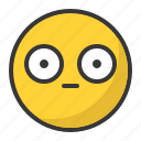 emoji, emoticon, scared, shy, surprised icon