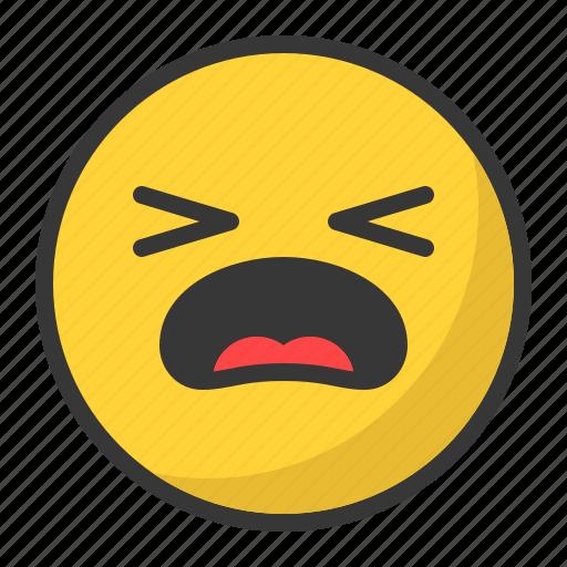 cry, emoji, emoticon, hurt, pain, sad icon