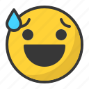 awkward, drop, emoji, emoticon, happy, smile icon