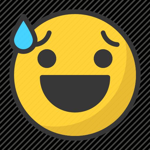 awkward, drop, emoji, emoticon, happy, smile icon