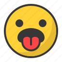 disgusted, emoji, emoticon, sad, tongue icon