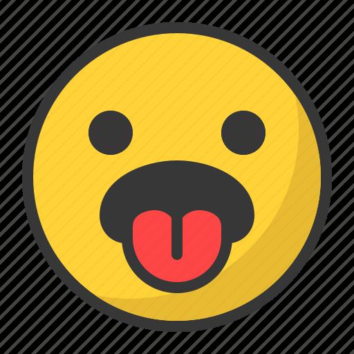 disgusted, emoji, emoticon, sad, tongue icon