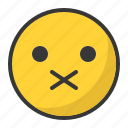 closed, emoji, emoticon, mouth, secret, shut, up icon