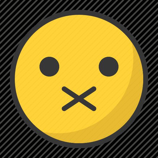 closed, emoji, emoticon, mouth, secret, shut, up icon