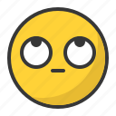 bored, emoji, emoticon, eyes, roll, up icon