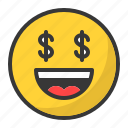 dollar, emoji, emoticon, happy, money, smile icon