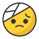 emoticon, pain, hurt, bandage, sad, emoji