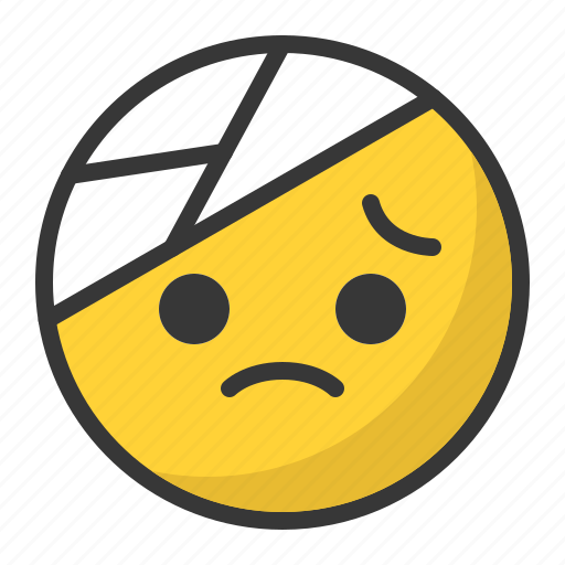 bandage, emoji, emoticon, hurt, pain, sad icon