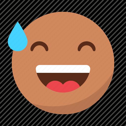 drop, emoji, emoticon, face, happy, laugh, smile icon