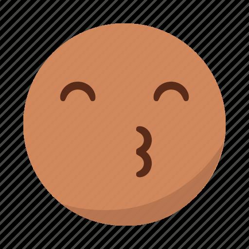 emoji, emoticon, face, kiss icon
