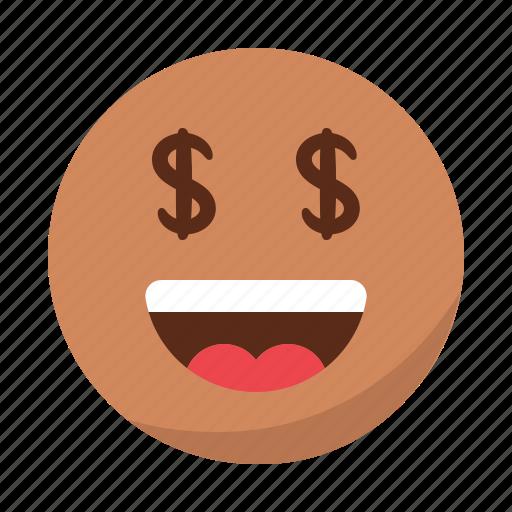emoji, emoticon, face, happy, money, rich, smile icon