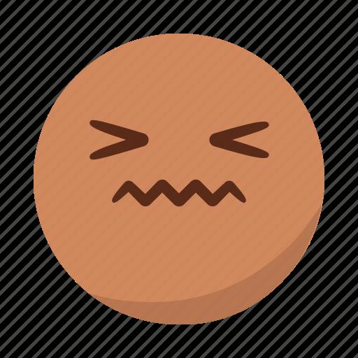 disgusted, emoji, emoticon, face, pain, sad, tongue icon