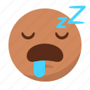 asleep, emoji, emoticon, face, sleep, tired icon