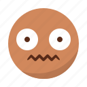 disgusted, emoji, emoticon, face, pain, surprised icon