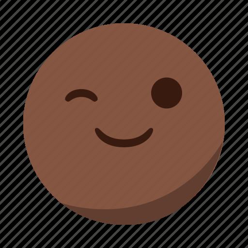 blink, emoji, emoticon, face, happy, smile icon
