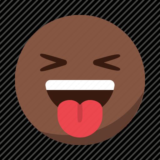 emoji, emoticon, face, happy, laugh, smile, tongue icon