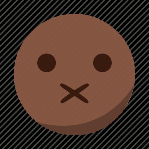 emoji, emoticon, face, mouth, quiet, shut icon