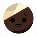 bondage, emoji, emoticon, face, headache, hurt icon