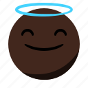 angel, emoji, emoticon, face, happy, smile icon