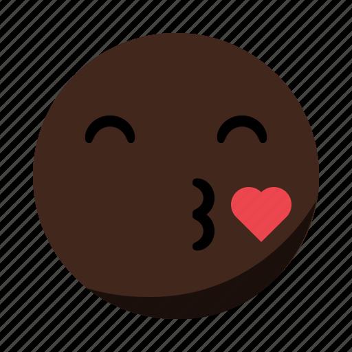 emoji, emoticon, face, heart, kiss icon