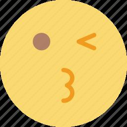 emoji, emoticons, face, wink icon