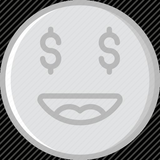 emoji, emoticons, face, money icon